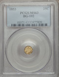 California Fractional Gold: , 1853 25C Liberty Octagonal 25 Cents, BG-102, Low R.4, MS63 PCGS.PCGS Population (38/20). NGC Census: (11/8). ...