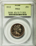 Proof Barber Quarters: , 1912 25C PR63 PCGS. PCGS Population (55/118). NGC Census: (28/122). Mintage: 700. Numismedia Wsl. Price for problem free NG...