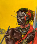 Pulp, Pulp-like, Digests, and Paperback Art, BENTON HENDERSON CLARK (American, 1895-1964). Decorated Warrior,African Adventure magazine illustration, 1955. Oil on b...