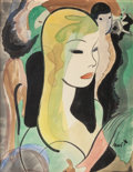 Pin-up and Glamour Art, EARL OLIVER HURST (American, 1895-1958). Head of a Woman.Watercolor and ink on paper mounted to board. 18.125 x 14 in....