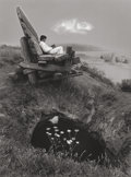 Photographs:Gelatin Silver, JERRY UELSMANN (American, b. 1934). Untitled (Man on LargeBench, Woman in Water), 1977. Gelatin silver. 13-3/8 x 10inc...