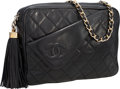 Luxury Accessories:Bags, Chanel Black Lambskin Leather Quilted Shoulder Bag with Tassel ....