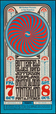 Butterfield Blues Band, Jefferson Airplane, & Grateful Dead at Winterland (Bill Graham, 1966). Concert Poster (1...