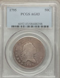 Early Half Dollars: , 1795 50C 2 Leaves AG3 PCGS. PCGS Population (21/1550). NGC Census:(0/858). Mintage: 299,680. Numismedia Wsl. Price for pro...