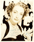 """Autographs:Celebrities, Joan Crawford (1904-1977, American actress) Photograph Signed.Black and white. Measures 8"""" x 10"""". Near fine. . ..."""