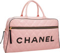 "Luxury Accessories:Bags, Chanel Pink Quilted Lambskin Leather Weekender Travel Bag. GoodCondition. 18.5"" Width x 10.5"" Height x 5.5"" Depth ..."
