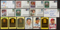 Autographs:Index Cards, Baseball Greats Signed Cachets, And Postcards Lot Of 15.(25 Signatures)...