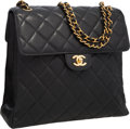 "Luxury Accessories:Bags, Chanel Black Quilted Caviar Leather Double Closure Reversible FlapBag. Very Good to Excellent Condition . 11.5""Width..."