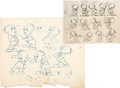 Animation Art:Production Drawing, David Hand Production Drawing Model Sheet and Clipping Group (Gaumont UK, 1944-50)....