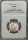 Coins of Hawaii: , 1883 25C Hawaii Quarter MS63 NGC. NGC Census: (186/507). PCGS Population (296/613). Mintage: 500,000. ...