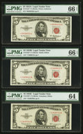 Small Size:Legal Tender Notes, $5 Legal Stars PMG Graded.. Fr. 1533* 1953A Gem Uncirculated 66 EPQ. Fr. 1534* 1953B Gem Uncirculated 66 EPQ. Fr. 15... (Total: 3 notes)