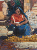 Fine Art - Painting, American:Contemporary   (1950 to present)  , ALFONSO ESTRADA (Mexican/American, 20th/21st Centuries). ElDesgranador (The Corngrinder), 1998. Oil pastel on paper. 15...