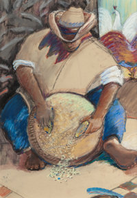 ALFONSO ESTRADA (Mexican/American, 20th/21st Centuries) Preparando (Preparing), 1997 Oil pastel on p