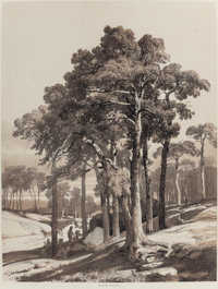ALEXANDRE CALAME (Swiss, 1810-1864) Les Ombrages (Shaded Areas) (pair) Tint stone lithographs 15-