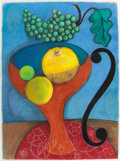 Fine Art - Work on Paper:Drawing, SUSIE PHILLIPS (American, b. 1949). Orange Vase with Apples andGrapes, 2002. Charcoal and pastel on paper. 30 x 22 inch...
