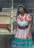 Fine Art - Work on Paper:Drawing, ALFONSO ESTRADA (Mexican/American, 20th/21st Centuries). Girl inthe Sun, 1997. Pastel on paper. 12 x 8-1/2 inches (30.5...
