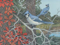 Paintings, EDWARD F. AHRENS (American, 1922-2014). Blue Jays, 1995. Oil on canvas. 12 x 16 inches (30.5 x 40.6 cm). Signed lower ri...