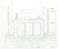 Animation Art:Production Drawing, Simpsons Courtroom Background Production Drawing (Fox, 1993)....