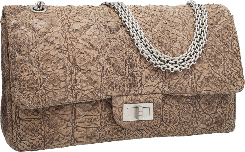 8b891dba46ca ... Luxury Accessories:Bags, Chanel Brown Alligator Embossed & Quilted Python  Jumbo ReissueDouble Flap ...