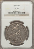 Seated Dollars: , 1842 $1 VF35 NGC. NGC Census: (26/466). PCGS Population (45/527).Mintage: 184,618. Numismedia Wsl. Price for problem free ...