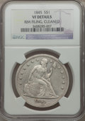 Seated Dollars: , 1845 $1 -- Cleaned, Rim Filing -- NGC Details. VF. NGC Census:(0/159). PCGS Population (2/239). Mintage: 24,500. Numismedi...
