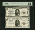 National Bank Notes:Pennsylvania, Harrisburg, PA - $5 1929 Ty. 1 The Harrisburg NB Ch. # 580 UncutPair. ...