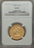Liberty Eagles: , 1847-O $10 XF45 NGC. NGC Census: (166/458). PCGS Population(118/168). Mintage: 571,500. Numismedia Wsl. Price for problem ...