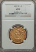 Liberty Eagles: , 1847-O $10 VF30 NGC. NGC Census: (11/712). PCGS Population(10/449). Mintage: 571,500. Numismedia Wsl. Price for problem fr...