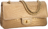 Chanel Metallic Gold Crocodile Medium Double Flap Bag with Brushed Gold Hardware & Jewel Chain Strap Excellent