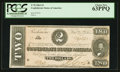 Confederate Notes:1864 Issues, T70 $2 1864 PF-9 Cr. UNL.. ...