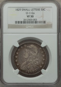Bust Half Dollars, 1829 50C Small Letters VF30 NGC. O-112a. NGC Census: (43/1151).PCGS Population (74/1429). Mintage: 3,712,156. Numismedia ...