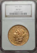Liberty Double Eagles: , 1861 $20 AU53 NGC. NGC Census: (367/1617). PCGS Population(174/749). Mintage: 2,976,453. Numismedia Wsl. Price for problem...