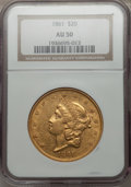 Liberty Double Eagles: , 1861 $20 AU50 NGC. NGC Census: (247/1984). PCGS Population(214/923). Mintage: 2,976,453. Numismedia Wsl. Price for problem...