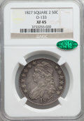 Bust Half Dollars: , 1827 50C Square Base 2 XF45 NGC. CAC. O-133. NGC Census:(225/1326). PCGS Population (289/1323). Mintage: 5,493,400.Numis...