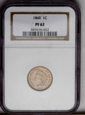 Proof Indian Cents: , 1860 1C PR62 NGC. Sharply struck, including bold definition on all four diamonds, with pleasing light tan color on both sid...