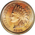 Proof Indian Cents: , 1862 1C PR66 PCGS. A limited mintage of 550 pieces is the source of this precisely struck, virtually pristine specimen. The...