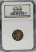 Proof Indian Cents: , 1863 1C PR64 Cameo NGC. The semi-reflective fields establish a pleasing cameo effect with the lightly frosted devices. Tan-...