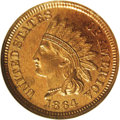 Proof Indian Cents: , 1864 1C Bronze No L PR65 Red and Brown NGC. The obverse exhibits glassy faded amber surfaces, while mottled violet overtone...