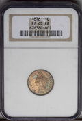 Proof Indian Cents: , 1876 1C PR65 Red and Brown NGC. Reddish-brown toning is accented by greenish hues on the obverse. Nicely struck, with just ...