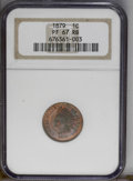Proof Indian Cents: , 1879 1C PR67 Red and Brown NGC. A melange of orange-gold, crimson, and electric-blue toning rests on near-pristine surfaces...
