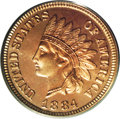 Proof Indian Cents: , 1884 1C PR66 Cameo PCGS. Bright, reflective surfaces exhibit beautiful red, pink, and golden patina on each side. All detai...