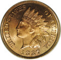 Proof Indian Cents: , 1887 1C PR65 Red PCGS. Exceptional deep cherry-red color covers both sides with interesting accents of lilac in the fields....