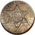 Three Cent Silver: , 1863 3CS MS65 NGC. The fields are deeply mirrored and flashforcefully through the rich, multilayered gray, rose, and sea-g...