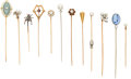 Estate Jewelry:Stick Pins and Hat Pins, Diamond, Multi-Stone, Gold Stick Pins. ... (Total: 12 Items)