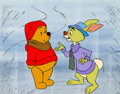 Animation Art:Production Cel, Winnie the Pooh Discovers the Seasons Pooh and Rabbit Production Cel Setup and Master Background (Walt Disney, 1981)....