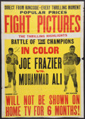Boxing Collectibles:Autographs, 1971 Muhammad Ali vs. Joe Frazier Closed-Circuit Poster Signed byAli. ...