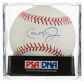 Autographs:Baseballs, Cal Ripken Jr. Single Signed Baseball, PSA Mint 9....