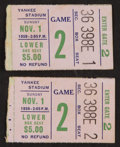 Football Collectibles:Tickets, 1959 Green Bay Packers Vs. New York Giants Ticket Stubs Lot of 2 - From Lombardi's 1st Year in Green Bay....
