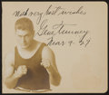 Boxing Collectibles:Autographs, Signed & Dated Gene Tunney Autograph Album Page with Photo. ...