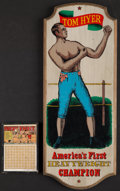 """Boxing Collectibles:Memorabilia, Tom Hyer Wooden Display and """"Prize Fight"""" Gambling Game...."""